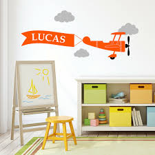 Custom Plane Aeroplane Nursery Sticker Wall Decal Cloud Boy Bedroom Kids Name Ebay