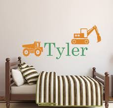 Amazon Com Personalized Truck Name Wall Decal Boys Name Wall Decal Construction Wall Decals Kids Room Decor Vinyl 34wx16h Baby