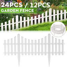 24pcs White Flexible Plastic Garden Picket Fence Lawn Grass Edge Edging Border Walmart Com Walmart Com