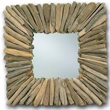 rustic square driftwood mirror the