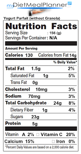 subway yogurt parfait nutrition facts