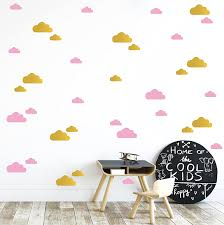 Amazon Com Gold And Pink Clouds Wall Vinyl Decal Decor Nursery Adhesive Cloud Stickers For Kids Baby Nordic Nubes Bedroom Decoration Arts Crafts Sewing