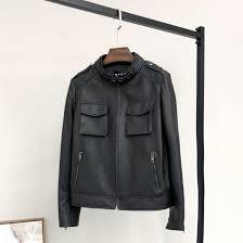 tops women long sleeve pu leather coat