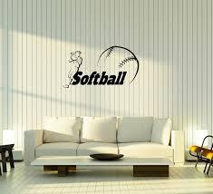 Wall Decal Softball Baseball Sport Girl Player Caption Game Vinyl Stic Wallstickers4you