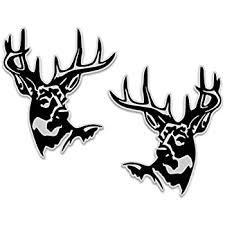 Amazon Com Deer Buck Head Vinyl Decal 6 X 7 Right Left Facing Set Whitetail Sticker For Truck Car Window Automotive
