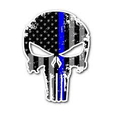 Thin Blue Line Skull Sticker Thin Blue Line Shop