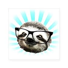 Cafepress Cute Hipster Sloth Sticker Square Bumper Sticker Car Decal 3 X3 Small Or 5 X5 Large Sharesloth