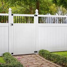 Veranda Pro Series 4 Ft W X 6 Ft H White Vinyl Woodbridge Baluster Top Privacy Fence Gate 258803 The Home Depot Backyard Fence Decor Garden Gate Design Garden Fence