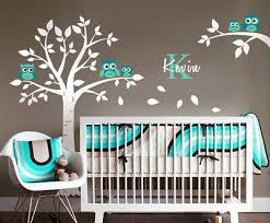 Owls Tree Wall Decal Nursery Baby Room Decor Personalized Initial Name Ebay
