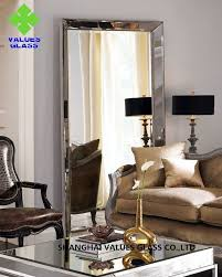 modern large frameless mirror silver