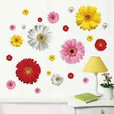 2 Set Removable Pvc Decals 4 Colors Diy Daisy Decorative Flowers Wall Stickers For Art Home Wall Decoration Lm613 Flower Wall Sticker Wall Stickerstickers For Aliexpress