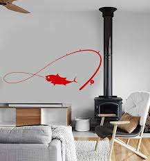 Vinyl Wall Decal Fishing Rod Fisherman Fish Hobby For Men Stickers Uni Wallstickers4you