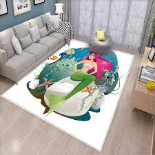 Amazon Com Mermaid Decor Anti Skid Rugs Illustration Of A Mermaid And Her Underwater World Colorful Landscape Girls Rooms Kids Rooms Nursery Decor Mats Kitchen Dining
