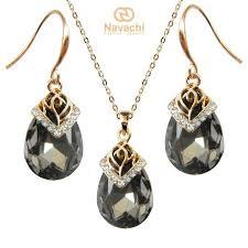 cubic zircon crystal yellow gp earrings