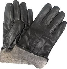 mens leather rabbit fur lined gloves