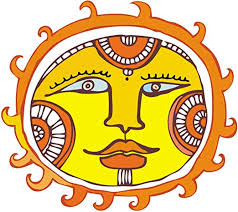 Amazon Com Abstract Mystical Mystic Sun Orange Yellow Blue Black White Vinyl Decal Sticker Two In One Pack 8 Inches Wide Kitchen Dining