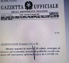 Decreto rilancio pubblicato in Gazzetta Ufficiale da scaricare ...