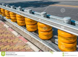Yellow Roller Barrier Attached To The Fence By The Road To Safe Stock Image Image Of Sort Reflective 49236421