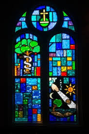 stained glass window at our lady of