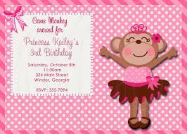 Monkey Invitation Monkey Birthday Party Girly Monkey Birthday