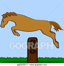 Vector Clipart Cartoon Horse Jumping Over An Obstacle Vector Illustration Gg63226717 Gograph