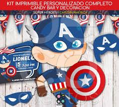 Tarjetas Y Candy Cumpleanos Capitan America Super Heroes