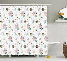 Ambesonne Modern Art Home Decor Shower Curtain Pastel Colored Diagonal And Hexagonal With Dots Inside Hipster Kids Theme Fabric Bathroom Decor Set With Hooks 75 Inches Long Multi Hipster Home Decor