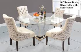small round mirrored dining table