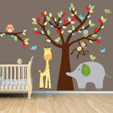 Amazon Com Monkey Wall Decal Jungle Animal Tree Decal Elephant Giraffe Lollipop Design Nursery Room Vinyl Wall Decal Tree Wall Decal Wall Sticker Wall Decor Kitchen Dining