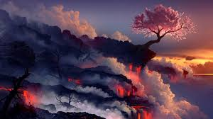 free anime dark landscape wallpaper