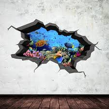Aquarium Tropical Fish Wall Decal Cracked 3d Wall Art Sticker Mural Decal Wsdcw3 Ebay