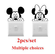 Disney Mickey Minnie Mouse Vinyl Wall Sticker Cute Light Switch Sticker Home Decoration Accessories For Living Room Bedroom Wall Stickers Aliexpress