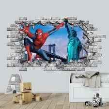 3d Spiderman Wall Decal New York Bridge Smashed Wall Decor Etsy