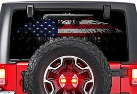 Amazon Com Gold Fish Decals Rear Window Perforated See Thru Graphic Decal Sticker Eagle 5 Compatible With Jeep Wrangler Jk Rubicon Automotive