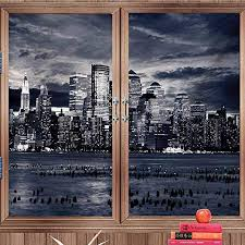 Amazon Com Window Decals Window Stickers City Dramatic View Of New York Skyline From Jersey Side Clouds Buildings Charcoal Grey Black White For Bathroom Office W18 Xh118 Home Kitchen