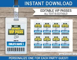 Fortnite Party Vip Passes Template Blue Cumpleanos Fiesta