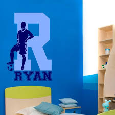 Soccer Football Wall Decal With Personalized Name And Initial Wall Sticker For Kids Baby Room Bedroom Home Decals Murals A488 Football Wall Decal Name Wall Decalswall Decals Aliexpress