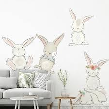 Bunny Wall Stickers Nursery Children S Bedroom Baby Floral Rabbit Decals Ebay