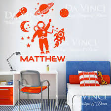 Space Rocket Planets Solar System Custom Name Vinyl Wall Decal Sticker Ebay