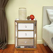 modern 3 drawer mirrored end table