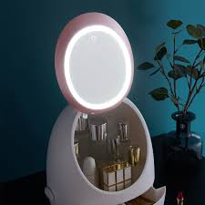 led mirror makeup cosmetic organizer