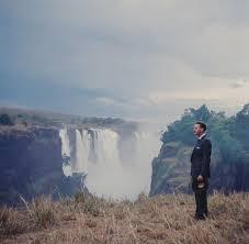 Ian Smith standing beside Victoria Falls on the Zambezi river in 1965 (HD  2048x2048) : Rhodesia