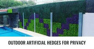 Outdoor Artificial Hedges For Swimming Pool Fence Privacy Plants Artificial