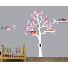 Pink And Gray Shelf Wall Stickers Tree For Girls