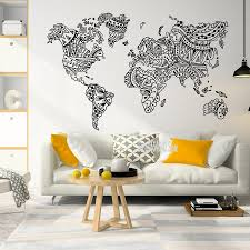 Mandala Large World Map Wall Decal Home Bedroom Living Room Decor Outline World Map Sticker Removable Adhesive Wall Mural C46 Wall Stickers Aliexpress
