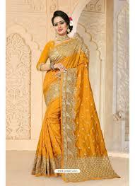 charming mustard zoya art silk saree