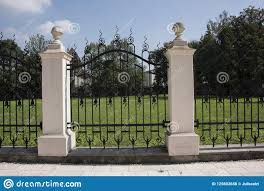 Stone Pillar And Decorative Wrought Iron Fence Gate Stock Photo Image Of Security Pattern 125602656