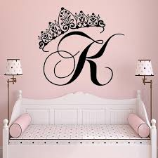 Custom Princess Crown Initial Letter Decal Personality Initial Wall Sticker For Kids Girl Rooms Decoration Vinyl Decal Hy354 Wall Stickers Aliexpress