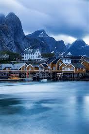 norway lofoten islands houses sea