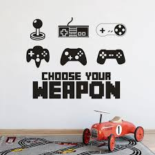 Games Controller Set Vinyl Wall Decal Teen Boys Room Decor Choose Your Weapon Quote Wall Murals Controller Wall Sticker Az638 Wall Stickers Aliexpress